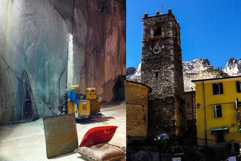 Carrara Marmor - Fantiscritti - in der Kathedrale, Kirchturm von Colonnata mit den Marmorbergen im Hintergrund.