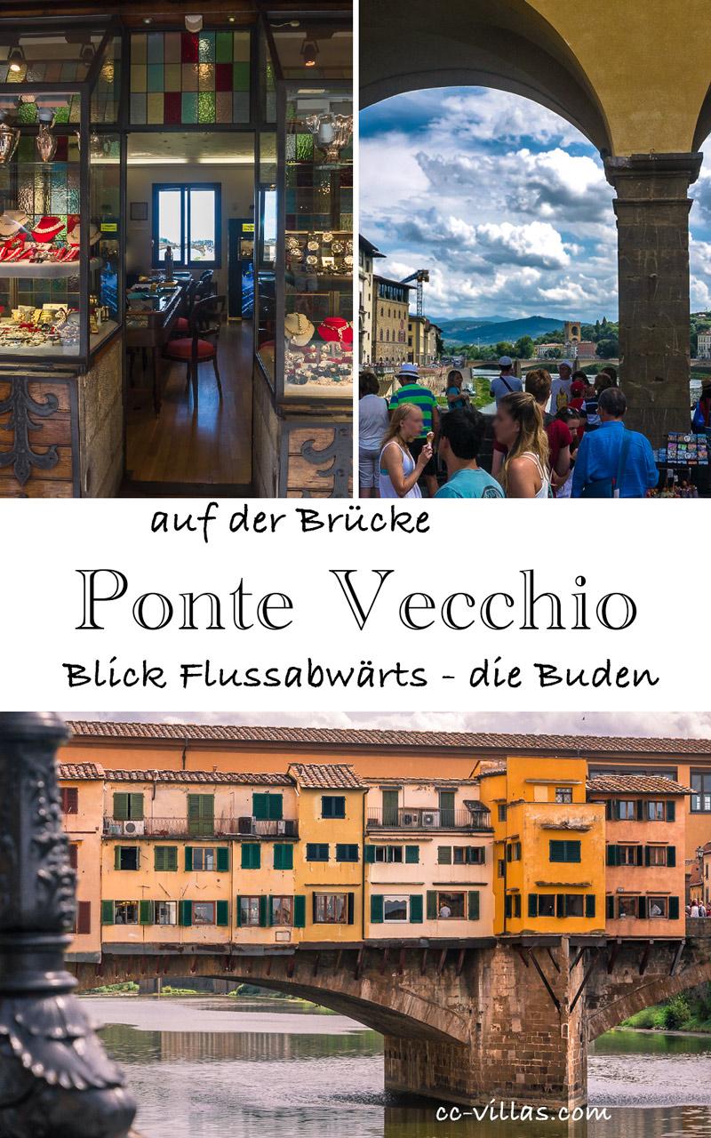 Brücken Florenz - Ponte Vecchio Ansicht auf die Buden - kleine Fotos: auf die Ponte delle Grazie und daneben ein Goldschmuck Laden