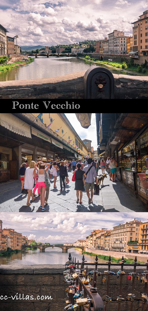 Florenz Bruecken - Ponte Vecchio entlang den Buden auf beiden Seiten - Blick: oben Richtung Ponte alle Grazie, unten Richtung Ponte della Trinità
