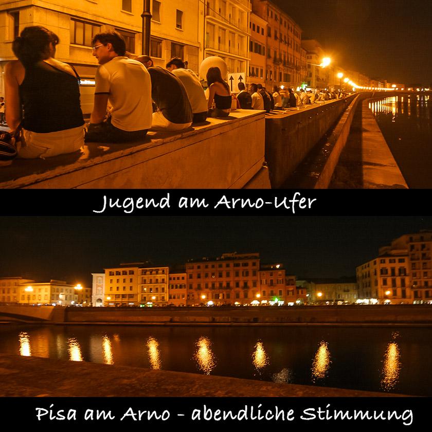 Pisa bei Nacht am Arno - Lungarno