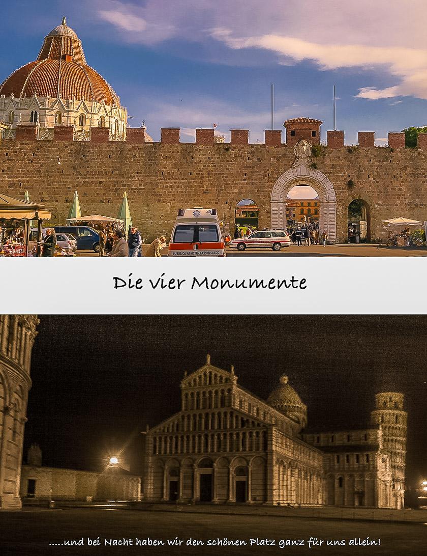 Pisa - Piazza dei Miracoli mit den 4 Monumenten bei Nacht und die Stadt-Mauer bei Nacht