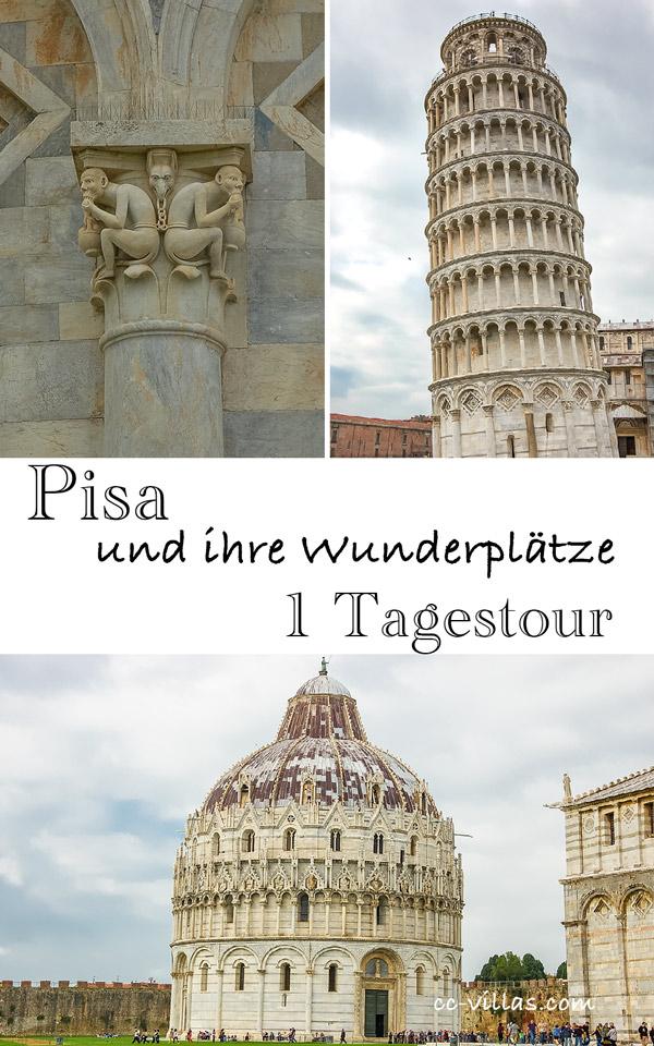 Piazza dei Miracoli mit dem Schiefen Turm und Detail, unten das Baptisterium