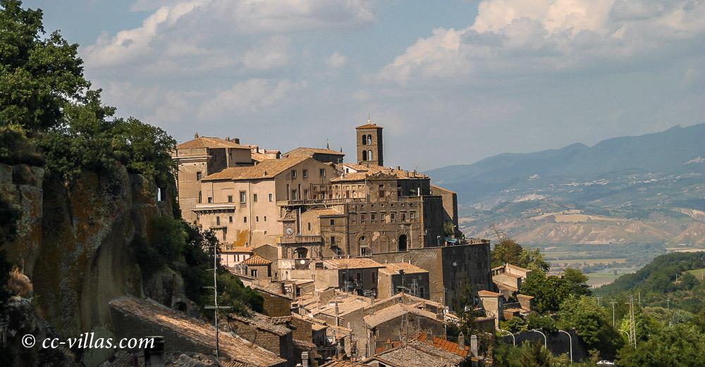 Bomarzo view towards the town on lime stone
