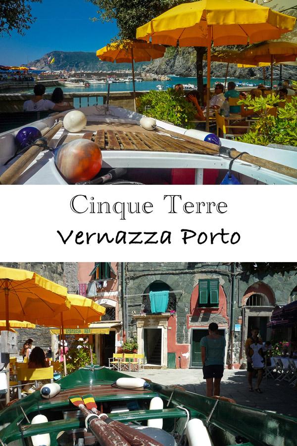 Cinque Terre Ligurien - Vernazza am Hafen mit Fischerboot und Café