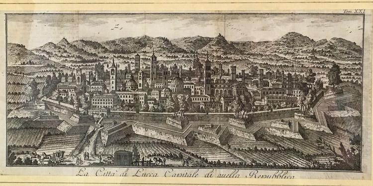 Lucca Stadtmauer - alte Grafik mit den vielen Türmen fast wie in San Gimignano