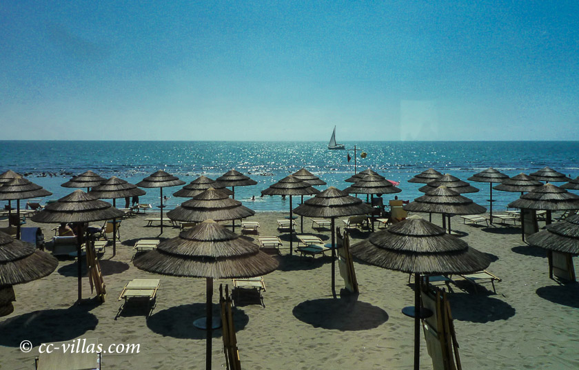 Versilia beach - Beach at Lucca and Pisa with umbrellas and sun chairs