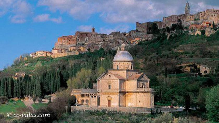 Montepulciano und ihre Filmlandschaft - im Vordergrund die Kirche San Biagio
