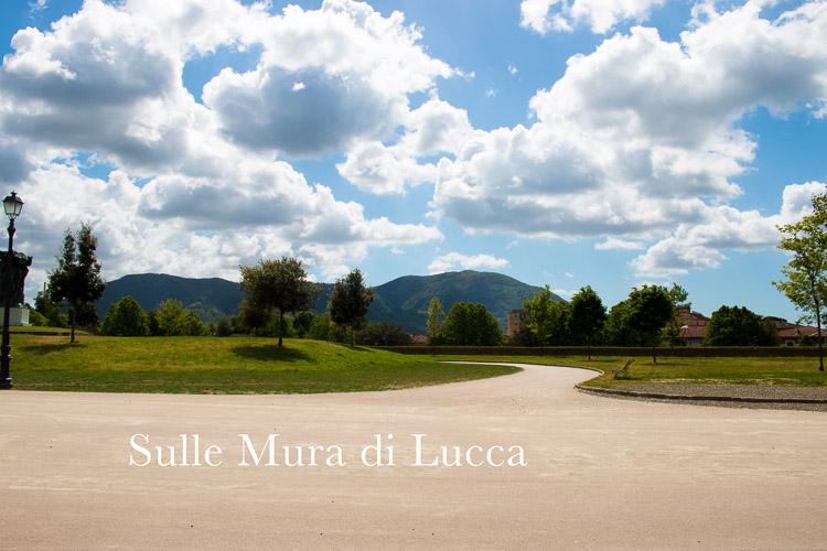 Lucca Stadtmauer - Bollwerk mit Rasen und Wegen