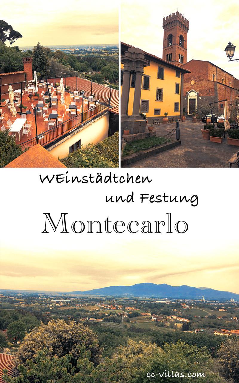 Montecarlo Toskana - Piazza Carrara mit den alten Säulen und der Kirche des Ortes; unterhalb liegt das Restaurant mit der Terrasse