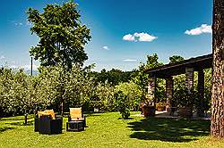 Small Tuscany Cottage with private pool - sitting on the lawn