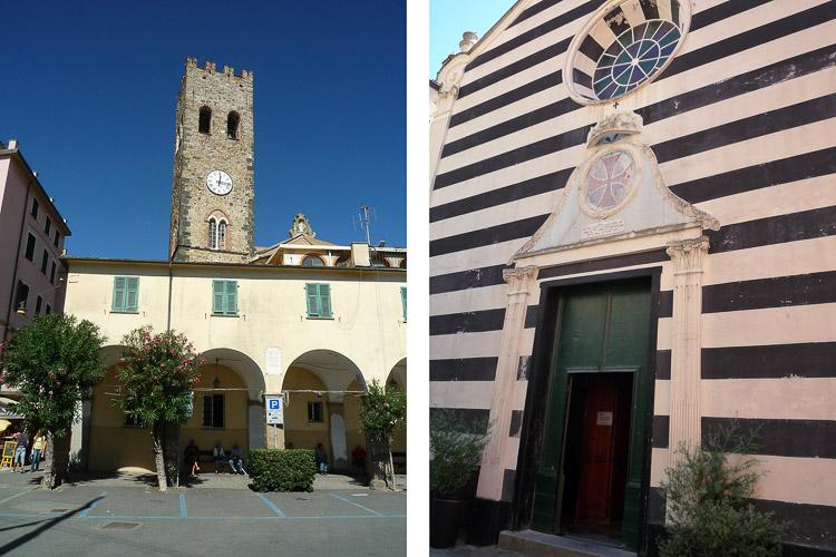 Monterosso Altstadt mit den typischen Streifenbauten und dem schönen Arkaden Platz
